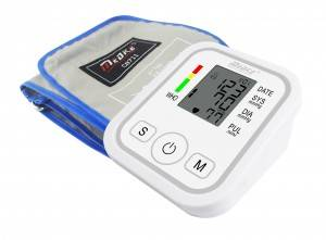 What are the features of the blood pressure monitor?