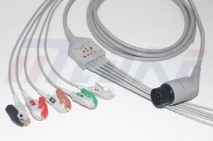 Nihon Kohden ECG Cable, Pinch, 8pins