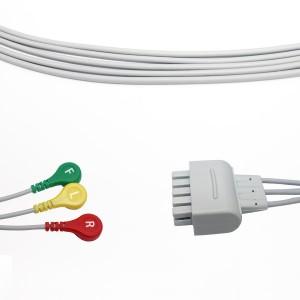 GE Marquette Leadwire sozlash EKG 3 Qo'rg'oshin Snap IEC 411203-003