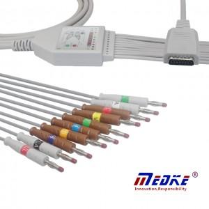Shanghai Nihon Kohden EKG Cable, AHA, Sefydlog Banana K1112B