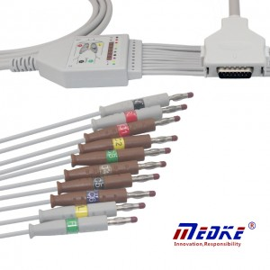 Fukuda Denshi 10-Lead Shielded EKG Cable IEC Banana4.0 15 Pins, K1203B