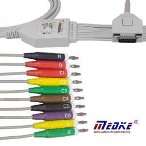 Fukuda Me 10-Lead Shielded EKG Cable IEC Fixed Banana, K1204B