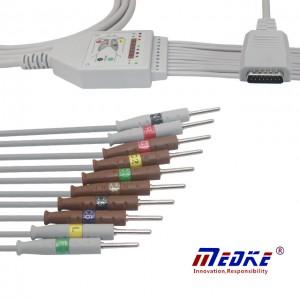 Shanghai Nihon Kohden EKG Cable, IEC, K1212N Nodwyddau Sefydlog