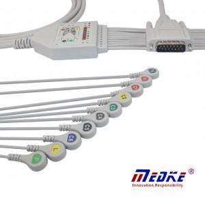 Mindray / Edan ECG Cable con hilos conductores 10/12, fija Snap K1221S