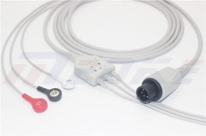 Mindray 6 Pins ECG Cable With Leadwires,1k Resistor, 3lead, AHA, Snap