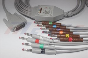 Mindray/Edan 01.57.107048 EKG Cable With 10/12 Leadwires, AHA, 4.0 Banana